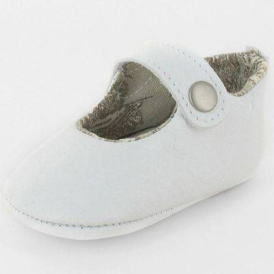 Chaussons baptême bébé prestige ballerine Marquise cuir blanc (0-3 mois)