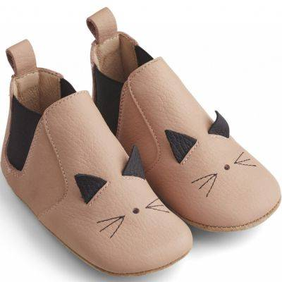 Chaussons bébé en cuir Edith Cat rose (pointure 19)