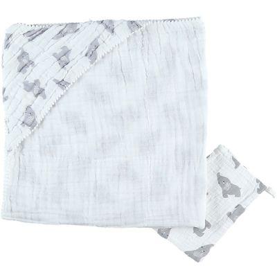 Cape de bain + gant en mousseline de coton Eléphant gris (75 x 75 cm)