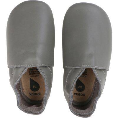 Chaussons bébé en cuir Soft soles Classic gris (3-9 mois)