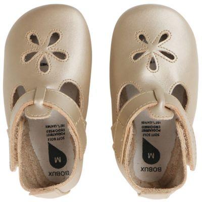 Chaussons bébé en cuir Soft soles doré Daisy (9-15 mois)