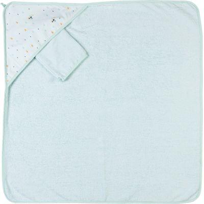 Cape de bain + gant de toilette Tim & Tiloo (75 x 75 cm)
