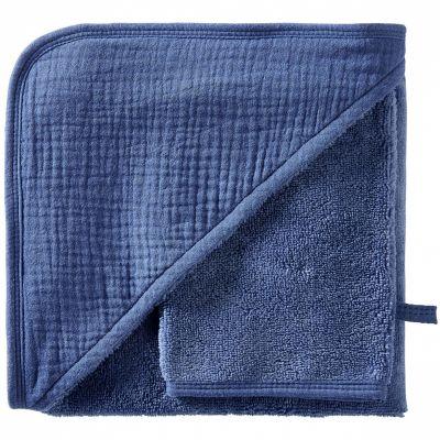Cape de bain + gant en bambou indigo blush Mix & Match (70 x 70 cm)