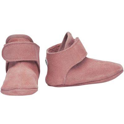 Chaussons en cuir vieux rose (0-6 mois)