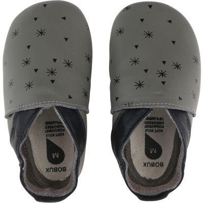 Chaussons bébé en cuir Soft soles Flocon de neige gris (3-9 mois)