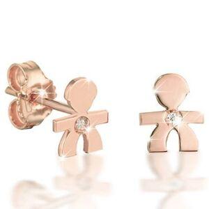 Boucles d'oreilles Briciole garcon (or rose 750° et diamant) - Publicité