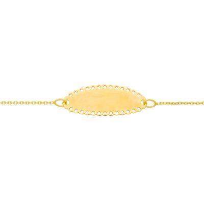 Gourmette bébé plaque ovale dentelle (or jaune 375°)