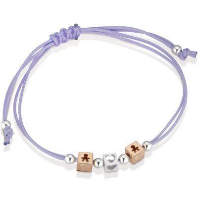 Bracelet cordon lila 2 cubes garçon 1 cube coeur (or rose 375° et argent 925°)