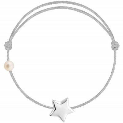 Bracelet cordon Etoile et perle gris (or blanc 750°)