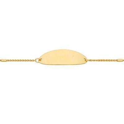 Gourmette bébé plaque ovale et chaîne corde (or jaune 375°)