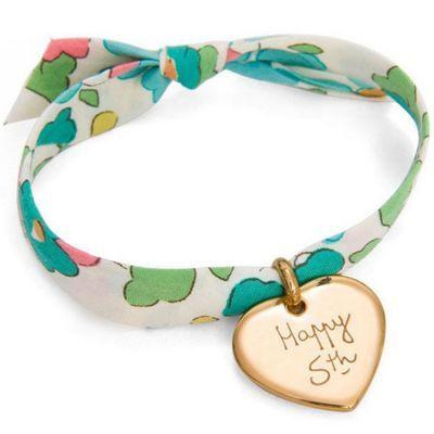 Bracelet enfant Liberty avec coeur personnalisable (plaqué or)