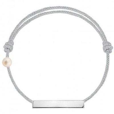 Bracelet cordon Plaque et perle gris (or blanc 750°)