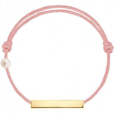 Bracelet cordon Plaque et perle rose poudré (or jaune 750°)