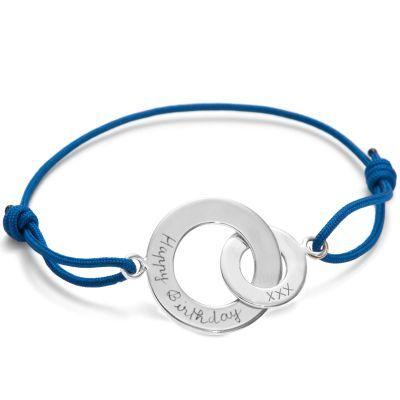 Bracelet enfant sur cordon Anneaux entrelacés personnalisable (argent 925°)