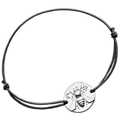 Bracelet cordon noir Abeille d'Ephèse 18 mm (argent 950°)