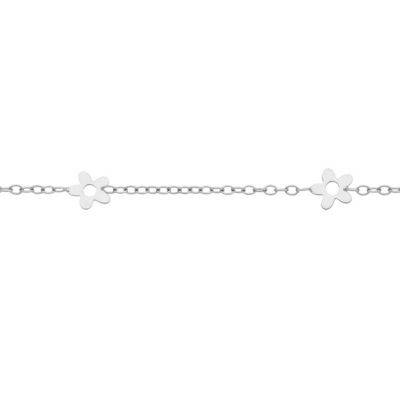 Bracelet bébé 3 fleurs (or blanc 375°)