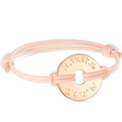 Bracelet enfant sur cordon Cible personnalisable (plaqué or)