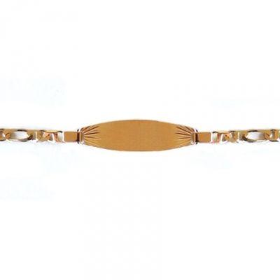 Gourmette bébé plaque tonneau maille cheval alternée (or jaune 750°)