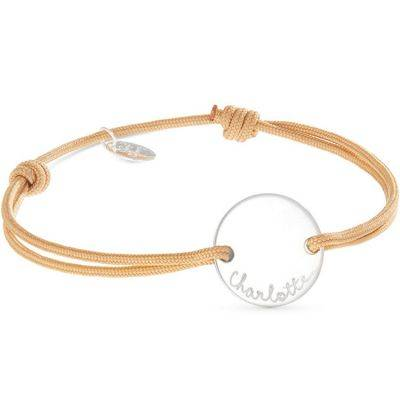 Bracelet maman sur cordon Pastille personnalisable (argent 925°)