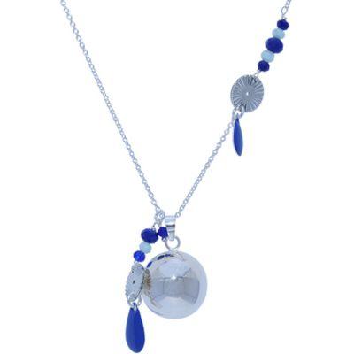 Bola sur chaîne Azzurro avec éléments bleus (plaqué argent 925°)