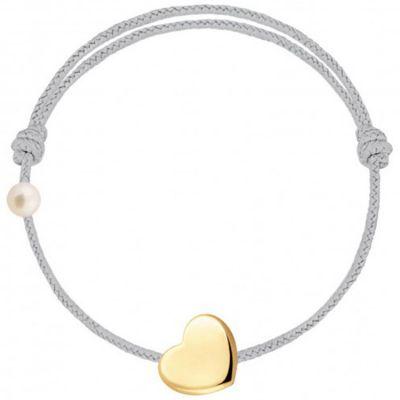 Bracelet cordon Coeur et perle gris (or jaune 750°)