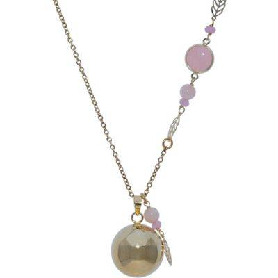 Bola sur chaîne Lovely avec éléments roses (plaqué or jaune)