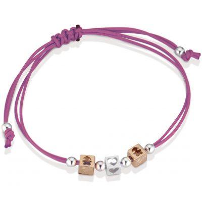 Bracelet cordon magenta 2 cubes fille 1 cube coeur (or rose 375° et argent 925°)