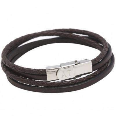 Bracelet enfant en cuir marron (personnalisable)