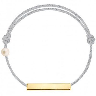 Bracelet cordon Plaque et perle gris (or jaune 750°)
