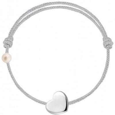 Bracelet cordon Coeur et perle gris (or blanc 750°)