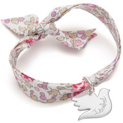 Bracelet enfant Liberty avec colombe personnalisable (argent 925°)