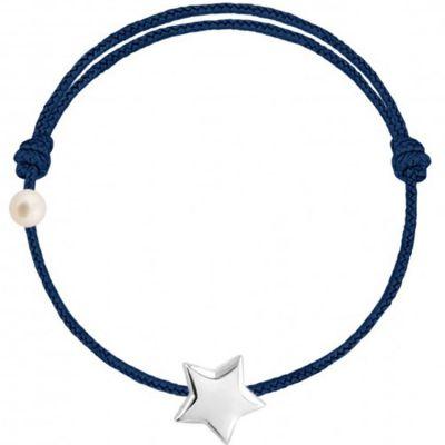 Bracelet cordon Etoile et perle bleu marine (or blanc 750°)