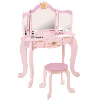 Coiffeuse enfant rose Princesse avec tabouret