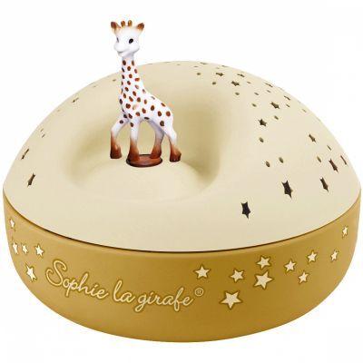 Veilleuse projecteur d'étoiles musical Sophie la girafe jaune (12 cm)