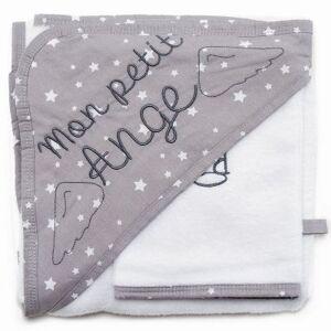 Cape de bain + gant Mon petit ange blanc et gris étoiles (70 x 70 cm) - Publicité