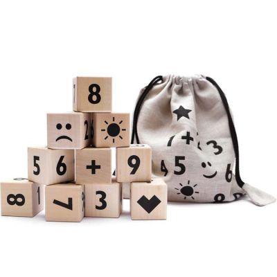 Cubes en bois Math noir