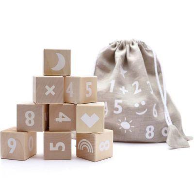 Cubes en bois Math blanc
