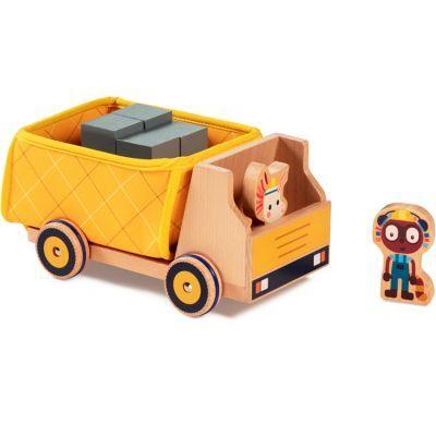 Camion benne et figurines en bois