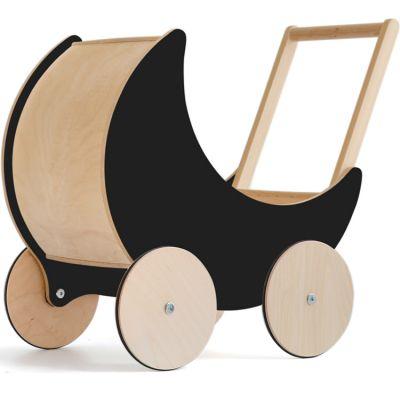 Landau de poupée en bois noir ardoise