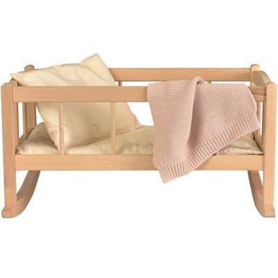 Berceau de poupée en bois avec couverture