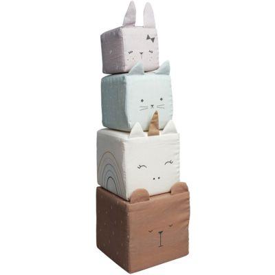Cubes à empiler en coton bio animaux