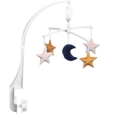Mobile musical lune étoiles velvet rose (mélodie au choix)