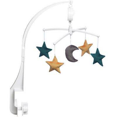 Mobile musical lune étoiles velvet vert (mélodie au choix)