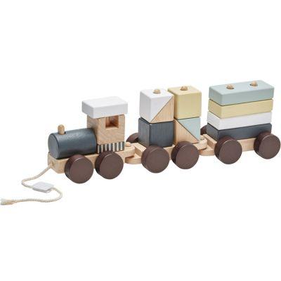 Train blocs de construction avec cubes naturel
