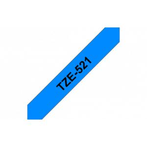 Brother Ruban etiquette TZE521 9mm Noir sur fond bleu - Publicité