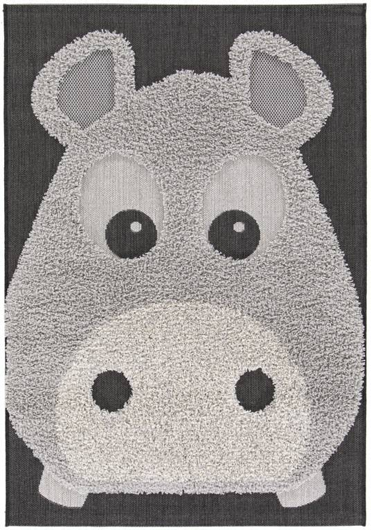 Déstockage Tapis chambre d'enfants Animaux - Hippo - Facile d'entretien - 120 x 170 cm