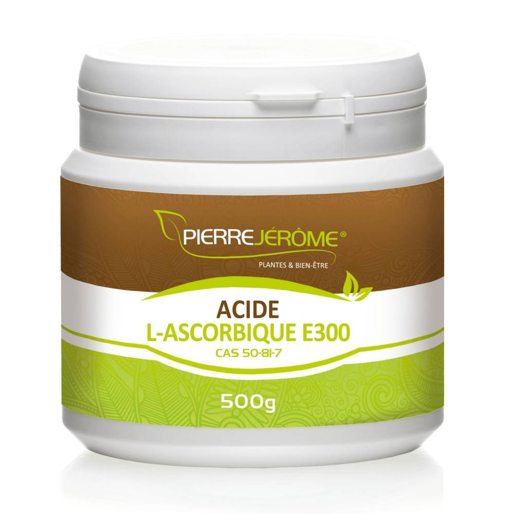 Pierre Jérôme Acide L-Ascorbique en poudre en pot PEHD inviolable de 500 grammes lot de 4