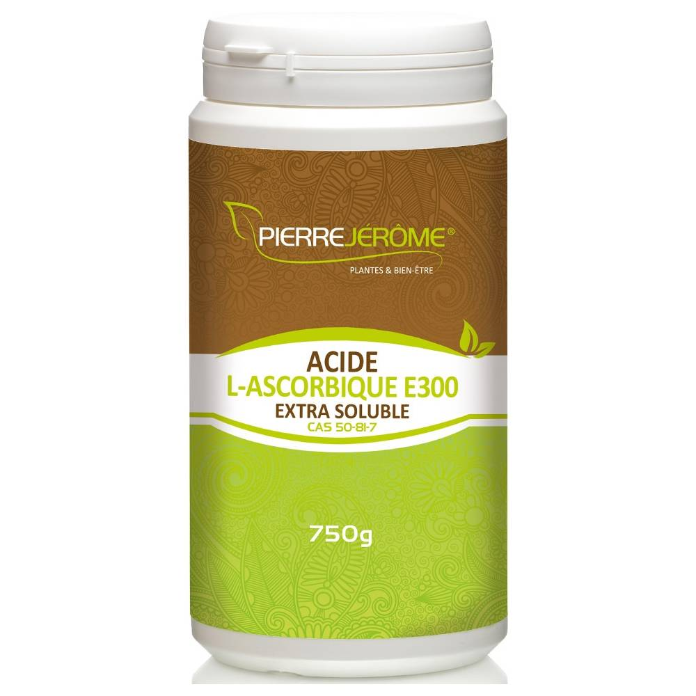Pierre Jérôme Acide L-Ascorbique Extra Soluble en poudre en pot PEHD inviolable de 750g lot de 4