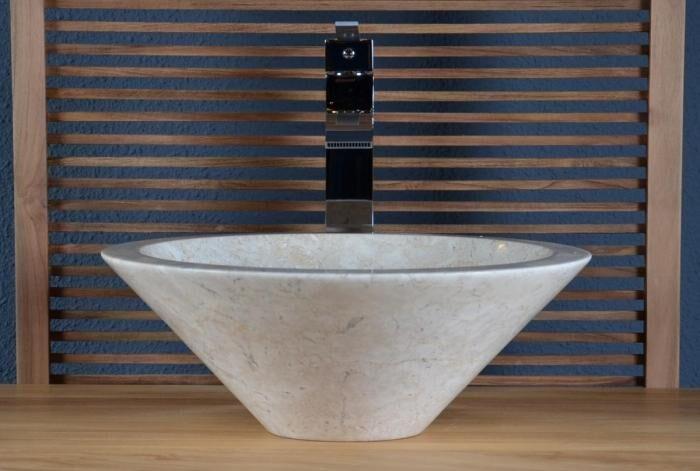 Walk Vasque à poser en marbre beige sanur aqua