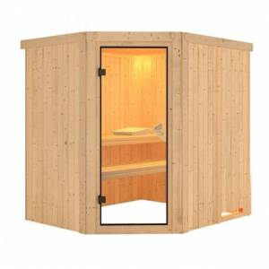 Karibu Sauna traditionnel d'angle SIIRIN 4 à 5 places 68mm sans couronne - avec porte classique KARIBU - Publicité